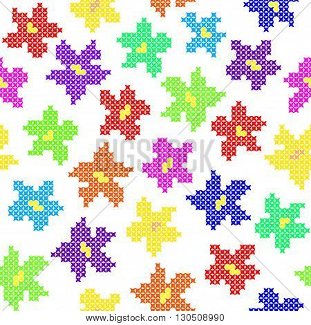 Seamless isolated texture with abstract color embroidered flowers for cloth. Embroidery. Cross stitch. Drawing with colors of the rainbow