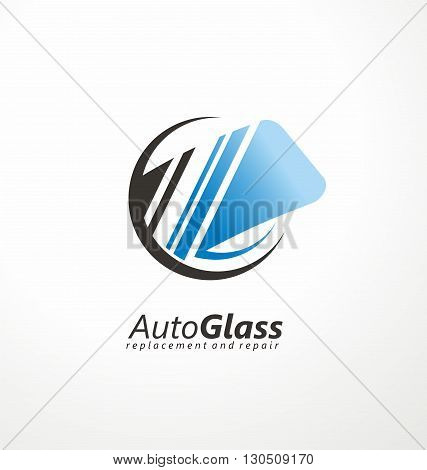 Auto Glass creative logo design idea. Windshield vector symbol concept. Service and repair. Cars and transportation maintenance icon layout. Car parts.