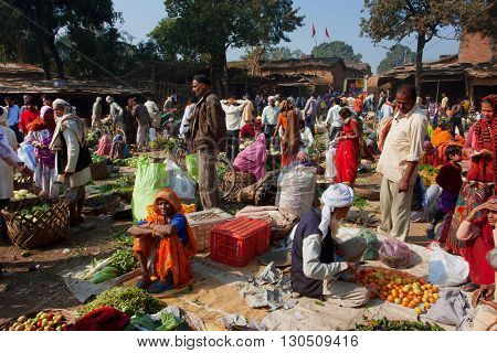 CHITRAKOOT, INDIA - DEC 29, 2012: Movement of people in the village vegetable market on December 29, 2012 in Chitrakoot India. India's arable land area of 159.7 mill.hectares is the 2nd largest in the world