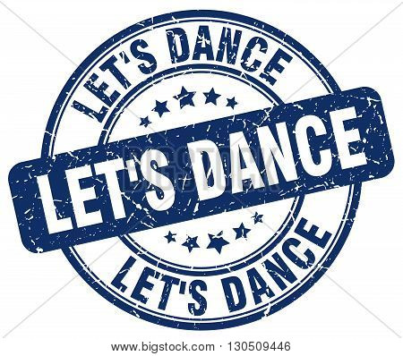 let's dance blue grunge round vintage rubber stamp