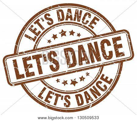 let's dance brown grunge round vintage rubber stamp