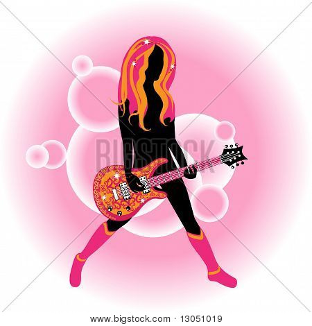 Woman With An Stylized Acustic Gitar