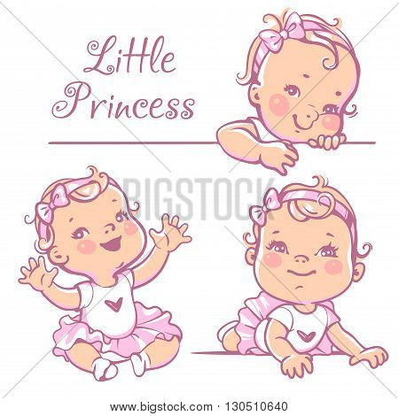 Set with cute little baby girl with curly hair, wearing bow, pink tutu. Portrait of happy smiling child one year old. Little princess sitting, lying on white background. Colorful vector illustration.