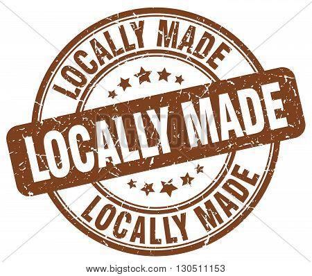 locally made brown grunge round vintage rubber stamp