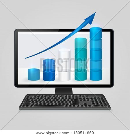 Keyboard and computer monitor with growing bar graph and arrow on screen. analysis business, finance, statistics concept. Vector illustration.