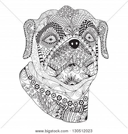 Bulldog portrait. Hand drawn stylized dog with ethnic floral doodle pattern sketch pattern. Coloring book page shirt print tattoo. Isolated black on white background