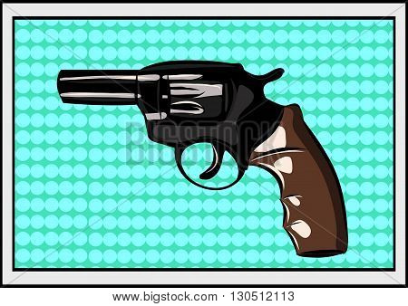 The pop art Gun on a polka-dot background. Vector