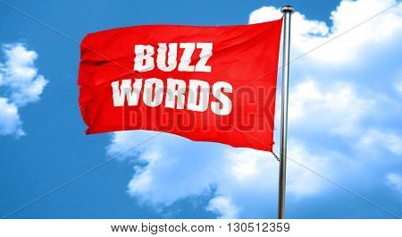 buzzword, 3D rendering, a red waving flag