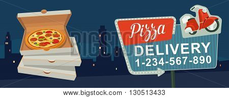 Retro night sign with an arrow. Billboard in retro style with lights. Delivery pizza on red moped. Isolated vector flat illustration on city night background. For banner poster presentation.