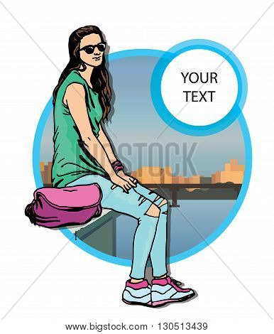 Beautiful young  women in a casual clothes on city background Vector hand drawn  illustration.