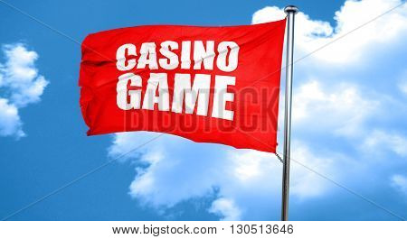 casino game, 3D rendering, a red waving flag