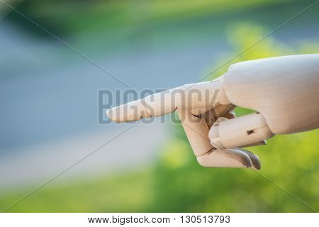Wooden Hand Prosthesis Pointing On Something Outside