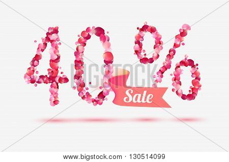 forty (40) percents sale. Digits of pink rose petals