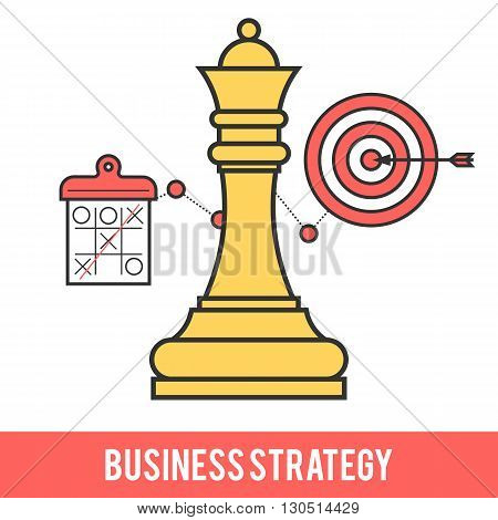 Icon design concept of business strategy, chess game, getting the goal. Modern flat line vector logo pictogram illustration