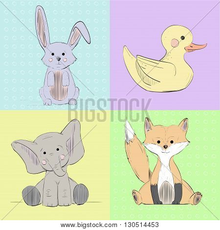 Hand drawn sketch pop-art  animals.Can be used like  post card or background