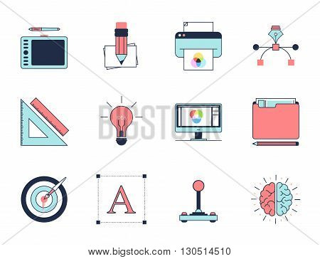 Creative design process icons. Line vector Modern Flat design icon set. Concepts and design elements for mobile and web applications