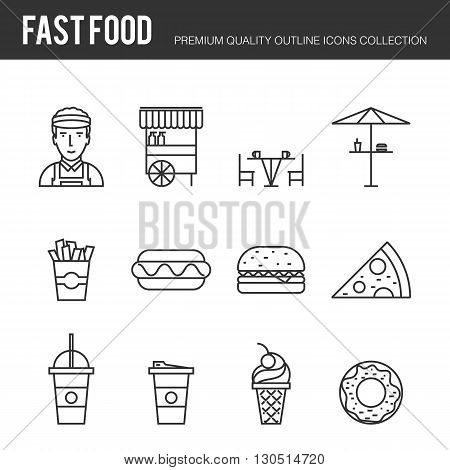 Lines icons set of fast food and beverages, mobile street food, popular various fast-food culinary object. Modern outline vector illustration design, simple logo pictogram concept