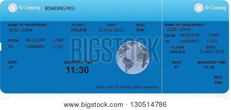 Vector illustration of pattern of a boarding pass. Concept of travel, journey or business trip