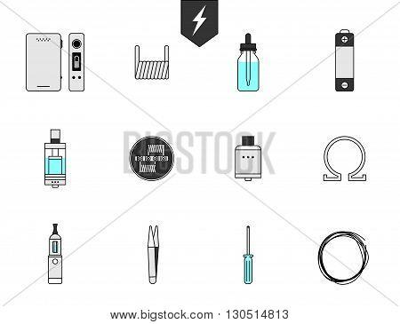 Set icon for Vapor bar and vape shop, electronic cigarette, no smoke. Line modern Flat design icon vector illustration set for your web design