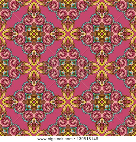 Damask vector festive gift wrap ornament seamless pattern