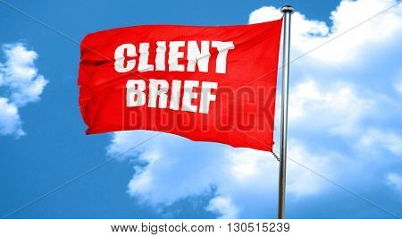 client brief, 3D rendering, a red waving flag