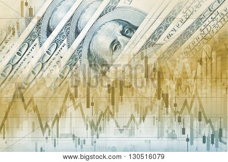 America Dollars Forex Trade. Trading American Currency. Financial Concept Graphic.