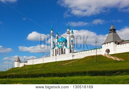 Mosque on territory of Kremlin on a background blue sky Kazan Russia