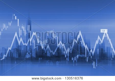 Currency Trading Background with Graph Stats and Modern Cityscape in the Background.