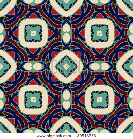 Abstract geometric background. Mosaics tiled retro vintage vector seamless pattern