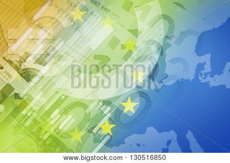 European Union Financial Conceptual Image. Euro Currency and EU Flag.