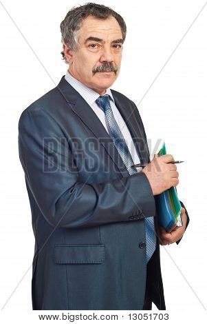 Middle Aged Manager With Folders