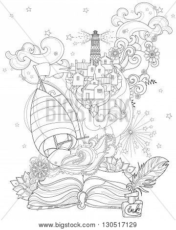 Hand drawn doodle outline  boat  from story magic  decorated with floral ornaments.Vector zen art illustration.Sketch for tattoo, poster or adult coloring pages.Boho style.