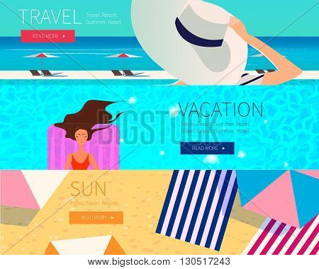 Summer vacation set of horizontal banners. Vector illustration.  Woman in wide-brimmed hat, pool swimming and beach background.