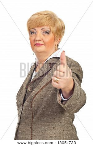 Middle Aged Business Woman Gives Thumbs