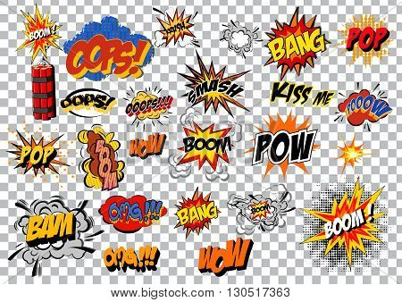 retro cartoon explosion pop art comic set. Vector EPS