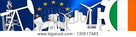 Energy and Power icons set. Header banner with Ireland flag. Sustainable energy generation and heavy industry.European Union flag backdrop. 3D rendering