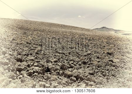 Plowed Fields on the Sloping Hills of Sicily Retro Image Filtered Style