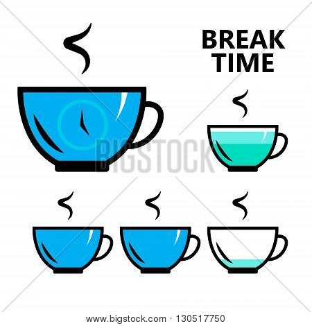 coffee, tea break time sign, isolated flat vector illustration for your projects