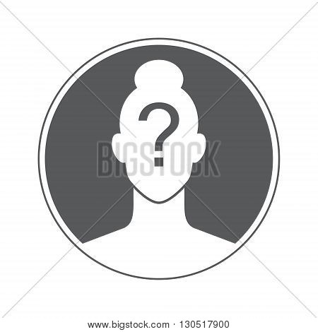 female unknown user social icon, isolated vector image for your projects