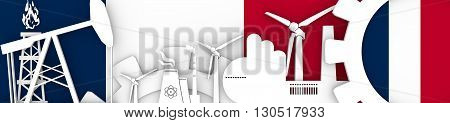 Energy and Power icons set. Header banner with France flag. Sustainable energy generation and heavy industry. 3D rendering