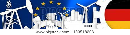 Energy and Power icons set. Header banner with Germany flag. Sustainable energy generation and heavy industry. European Union flag backdrop. 3D rendering