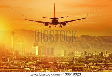 Vacation Airplane Trip to Las Vegas. Landing Aircraft in Las Vegas Nevada United States.