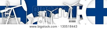 Energy and Power icons set. Header banner with Finland flag. Sustainable energy generation and heavy industry. 3D rendering