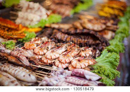 BBQ prawn barbeque skewer. Traditional thai cuisine.