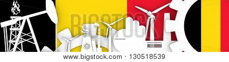 Energy and Power icons set. Header banner with Belgium flag. Sustainable energy generation and heavy industry. 3D rendering