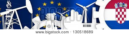 Energy and Power icons set. Header banner with Croatia flag. Sustainable energy generation and heavy industry. European Union flag backdrop. 3D rendering