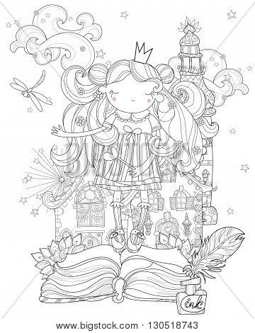 Vector cute princess fairy girl in crown from story magic .Vector line zen art illustration.Sketch for postcard or print or coloring adult book.Hand drawn free style.