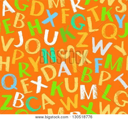 Vector, orange seamless background with colored English letters. The imitation of the texture of crayons and pencils. Flat style. For the decoration.