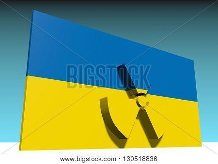 atom energy symbol and ukraine national flag. 3d rendering
