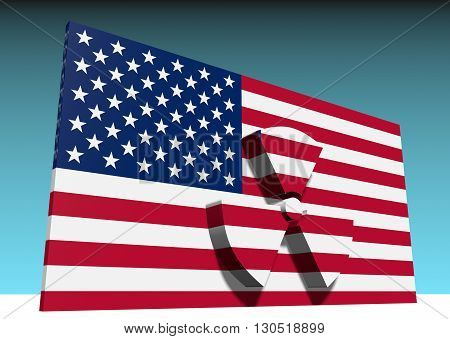 atom energy symbol and usa national flag. 3d rendering